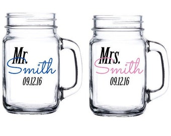 Pair of Personalized Mr and Mrs Mason Jar - Wedding couple gifts - bridal shower gift - personalized with last name and date