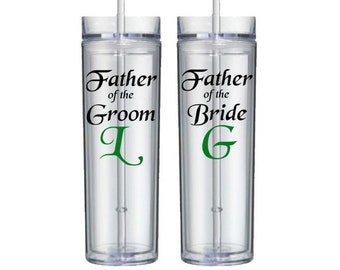 Personalized father of the bride or groom skinny tumbler - 16oz Acrylic Double Walled Tumbler with Straw