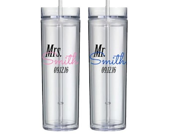 Personalized Mr and Mrs Skinny Tumbler - Wedding couple gifts - bridal shower gift idea - set of two - personalized with last name and date
