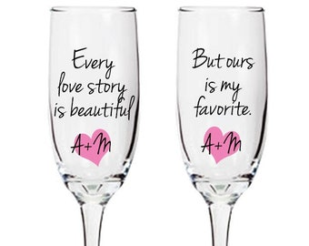 Personalized toasting glasses with custom sayings, quotes, hearts, initials, champagne flutes, bride, groom, wedding story - FREE SHIPPING