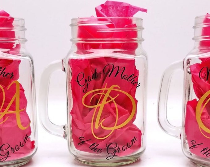 Wedding Mason Jar Glassware - Bridal party, Grooms party, Parents, Bride, Groom, Father, Mother, Bridesmaid, Matron of Honor - FREE SHIPPING