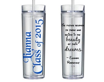 Personalized Graduation tumbler with name - graduation gift - double wall insulated - 16 oz  - inspirational gift
