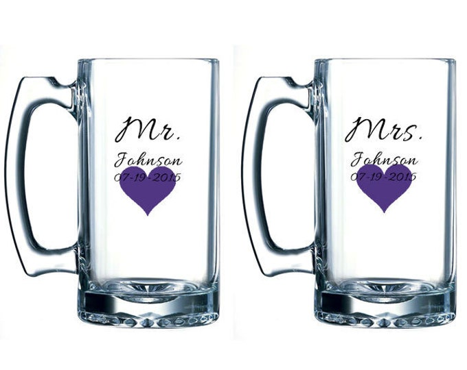 Mr and Mrs beer mugs with heart, name, and date - personalized beer mug pair- bride and groom glasses - bridal shower gift - FREE SHIPPING