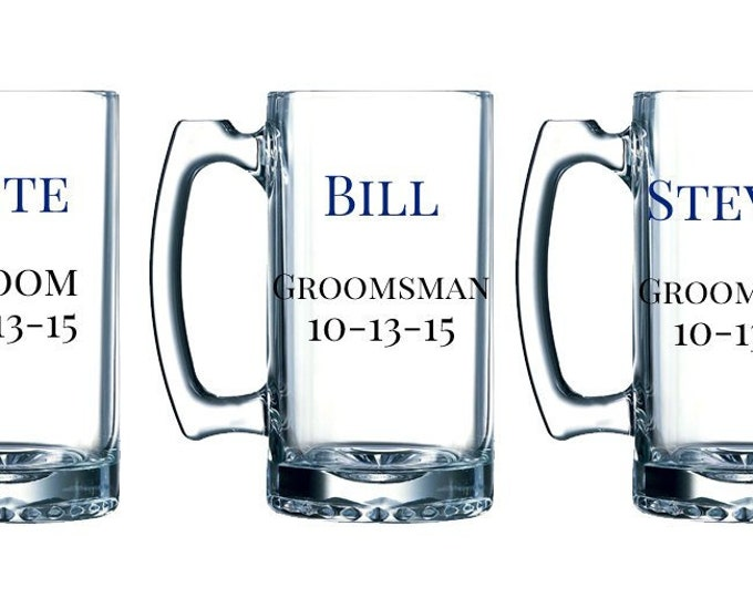 Personalized large beer mug - Groom, Groomsman, Best Man, Fathers - With Name, Date, and Title - Unique - Weddings - FREE SHIPPING