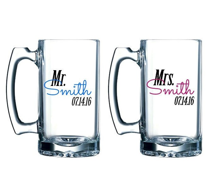 Featured listing image: Mr and Mrs beer mugs - personalized beer mug pair- bride and groom glasses - wedding toast - bridal shower gift ideas