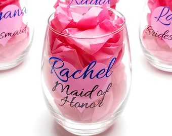 Bridal Party Stemless Wine Glass - Custom Personalized with Name, Title, Heart - Bride, Bridesmaids, Maid of Honor