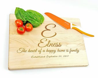 "Personalized etched maple cutting board - 9"" x 12"" maple cutting board, customized with last name, phrase, and date"