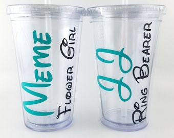 Flower Girl and Ring Bearer Tumbler set, Personalized Acrylic Tumber, Wedding Party, Jr. Bridesmaid, Jr. Groomsman, Children Cups