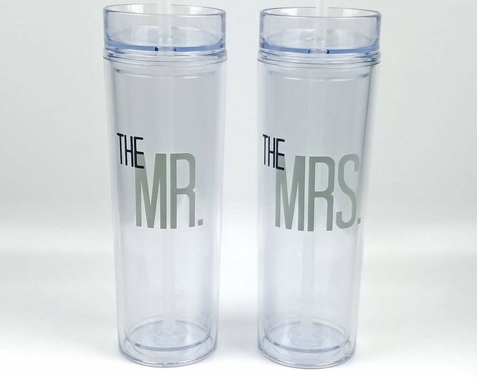 Bride & Groom - Mr and Mrs - Set of Two Skinny Acrylic Tumbler - 16 oz. - Wedding - Anniversary - FREE SHIPPING