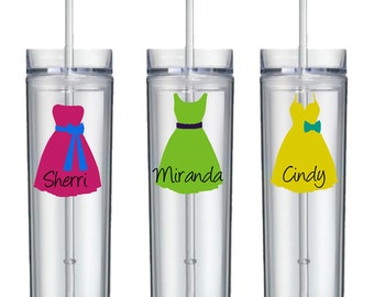 Personalized skinny acrylic tumbers with straws, Dress, Name, and Accessory - Wedding Shower, Bride, Bridesmaid, Bachelorette