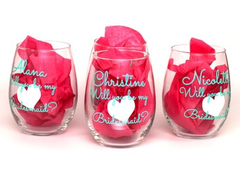 Personalized will you be my bridesmaid, Will you be my Maid of Honor, Will you be my Matron of Honor, 21oz Stemless Wine Glass