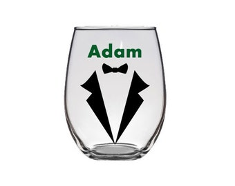 Personalized groomsmen stemless wine glasses, groom, best man, with name and tuxedo, wedding party, wedding gifts