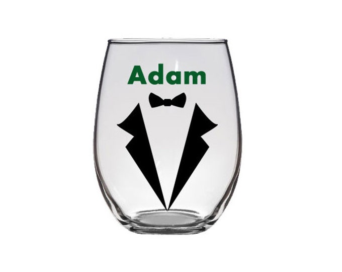 Personalized groomsmen stemless wine glasses, groom, best man, with name and tuxedo, wedding party, wedding gifts - single glass listing