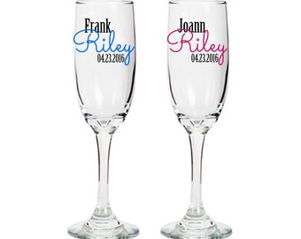 Personalized champagne glasses - bride and groom - wedding toast - bridal shower gift ideas - one pair - First Name / Last Name / Date