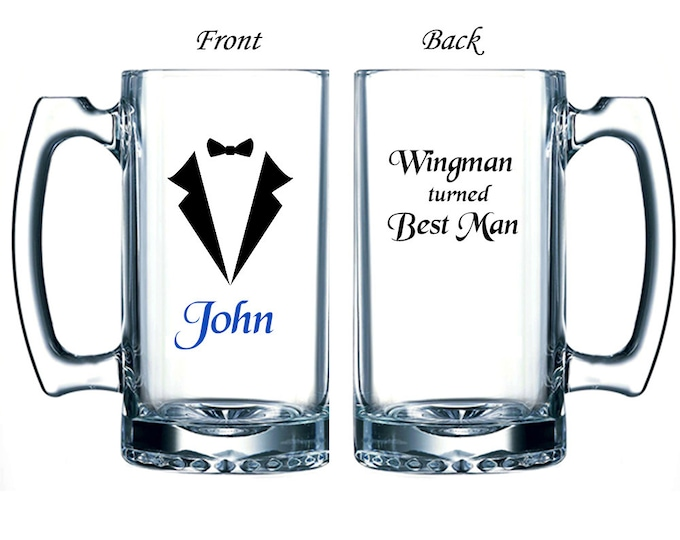 Set of 2 Personalized Large Beer Mugs - Custom Made with Name, Phrase, Tuxedo - Wingman Turned Best Man / Groomsman - FREE SHIPPING