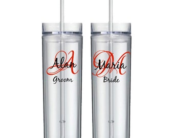 Personalized wedding acrylic tumbler - monogram initial, name, and title - acrylic skinny tumbler, groom, bride, bridesmaid - FREE SHIPPING