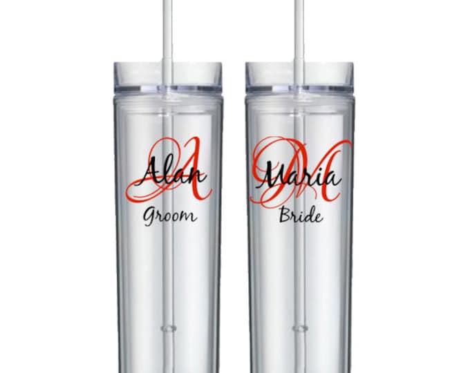 Set of 7 personalized wedding acrylic tumbler - initial, name, and title - acrylic skinny tumbler, groom, bride, bridesmaid - FREE SHIPPING