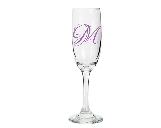 Custom Champagne Flute - Monogram / Initial - Great for brides, grooms, bridesmaids, groomsmen, and the whole wedding party - FREE SHIPPING