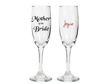 Mother of the bride champagne glass - double sided with name - wedding bridal engagement gift