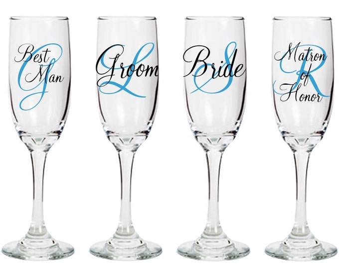 Set of four - Monogrammed personalized wedding champagne flutes with role - Bride Groom Matron of honor and Best Man glasses - bridal party