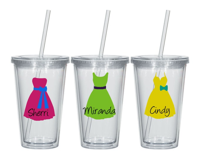 Personalized Acrylic Tumber with Straws - Dresses - Names - Bridal Party - Bride - Wedding Shower - Engagement Gift - FREE SHIPPING