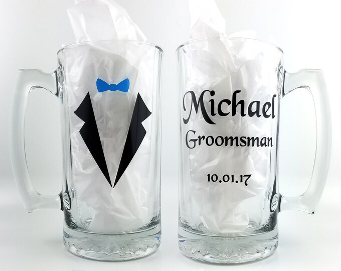 Personalized wedding Mugs - beer mug with name role and wedding date, groomsmen party gift ideas, wedding glassware, groom - FREE SHIPPING