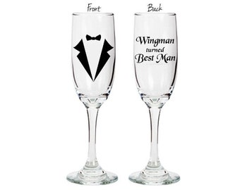 Best Man personalized champagne flute - Wingman turned Best Man - double sided glass with tuxedo