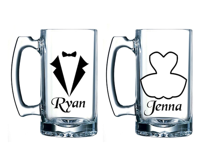 Personalized Bride and Groom Beer Mugs - Large 26 oz - Wedding Gifts