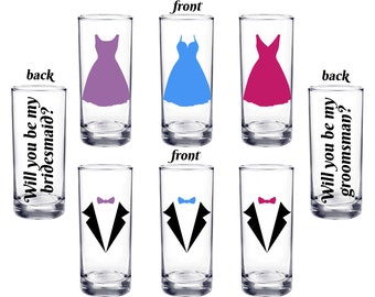 set of 7 Will you be my bridesmaid or groomsman, Personalized shot glasses, Bridesmaid proposal, Groomsman proposal - FREE SHIPPING