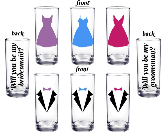 Set of 6 - Will you be my bridesmaid, Will you be my groomsman - Personalized shot glasses, proposal, Best Man, Maid, Matron- FREE SHIPPING