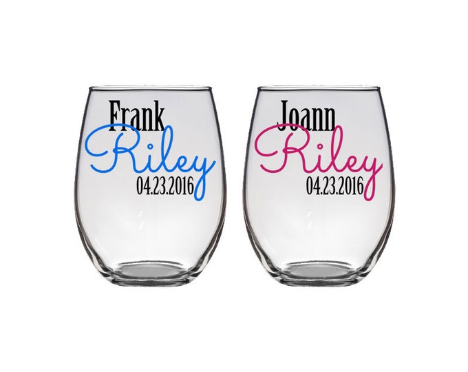 Pair of Personalized stemless wine glass - bride and groom - wedding toast - bridal shower gift ideas - Names and Date - FREE SHIPPING