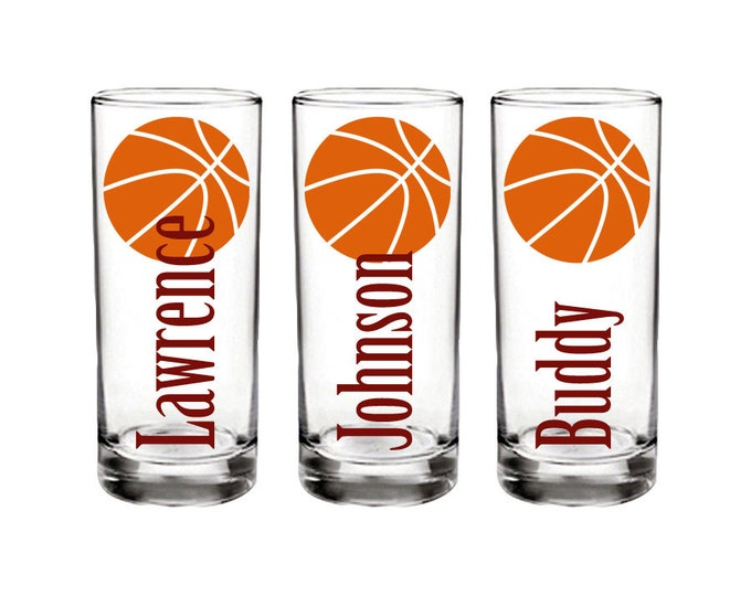 Set of 5 Personalized Basketball Shot Glass - Customized Name and Your Choice of Colors and Font - Birthday Party - FREE SHIPPING