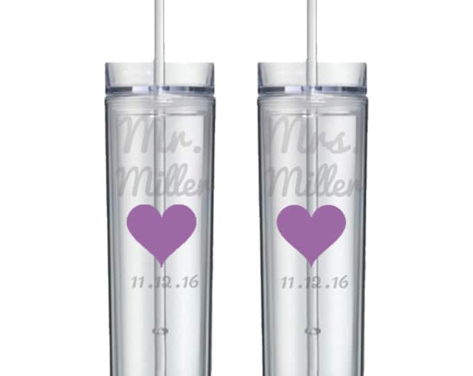 Pair of Personalized Etched Mr Mrs Wedding Cup - Acrylic Double Walled Cup - BPA Free - Bride - Groom - Anniversary - FREE SHIPPING