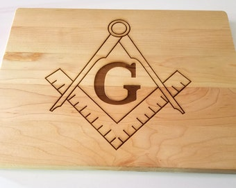 Masonic Cutting Board - Maple Cutting Board Laser Etched with Square and Compasses