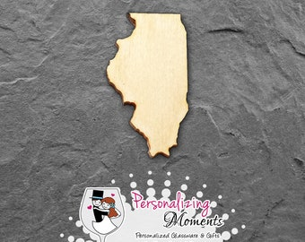 Illinois - Unfinished Laser Cut Shape, DIY Craft Supplies, Woodworking, Kids Crafts, Blanks, Many Sizes - FREE SHIPPING