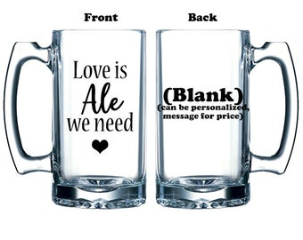 Funny beer valentine Love is Ale we need for craft beer enthusiast and Beatles fan vinyl or etched