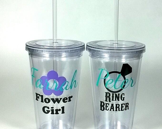 Pair of of Ring Bearer and Flower Girl Acrylic Tumblers, Jr. Groomsman, Jr. Bridesmaid, Bridal Party, Groomsmen - FREE SHIPPING