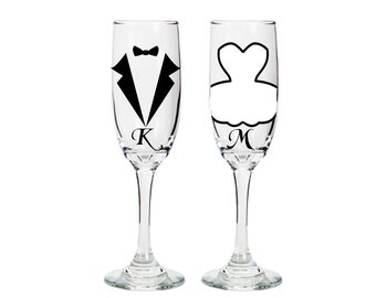 Personalized Bride and Groom Champagne Flutes - Wedding Gifts -bridal shower - engagement