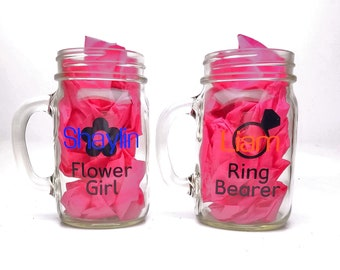 Set of 2 Personalized Mason Jar Glass Pint - Flower Girl Glass, Ring Bearer Glass - Bridal party gift - Wedding glassware