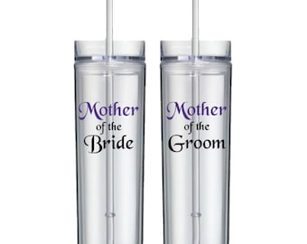 Mother of the Groom orMother of the Bride Acrylic Tumbers - Custom Personalized with Name, Fonts, and Colors