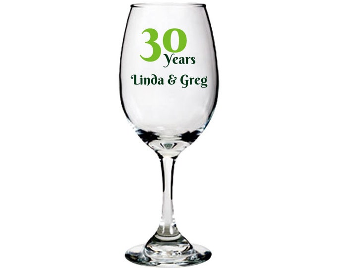 Anniversary White Wine Glass - Personalized with Names, Year, Fonts, and Color - FREE DOMESTIC SHIPPING