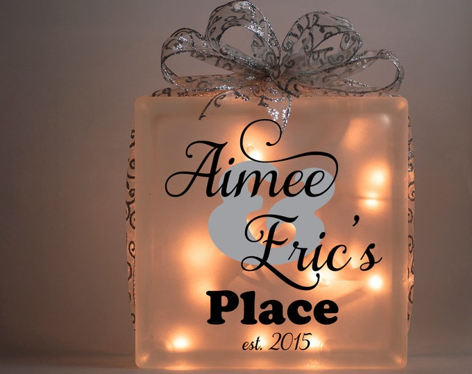Personalized lighted glass block with names and date, wedding centerpiece, housewarming gift, engagement, bridal shower - FREE SHIPPING