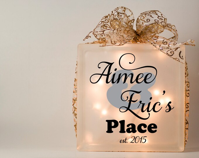 Wedding centerpiece - housewarming gift - personalized lighted glass block with name - first family Christmas- engagement - bridal shower