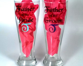 Personalized Father of the Bride or Groom - Custom Beer Glass for Dad, Large Pilsner Glasses - 23 Ounces