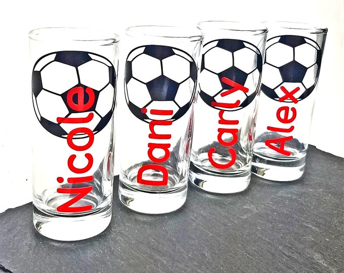 Set of 4 Personalized soccer shot glass with name -  Great for birthdays, parties, and sports gatherings - tequila shooter - FREE SHIPPING