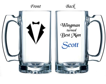 Personalized Large Beer Mug - Custom Made with Name, Phrase, Tuxedo - Wingman Turned Best Man / Groomsman