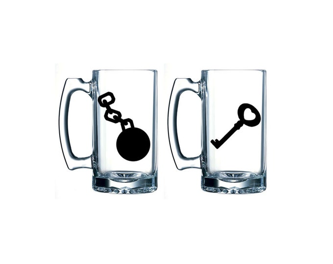 Ball and Chain / Heart Key- beer mug set of two - personalized party mug - engagement gift - FREE DOMESTIC SHIPPING