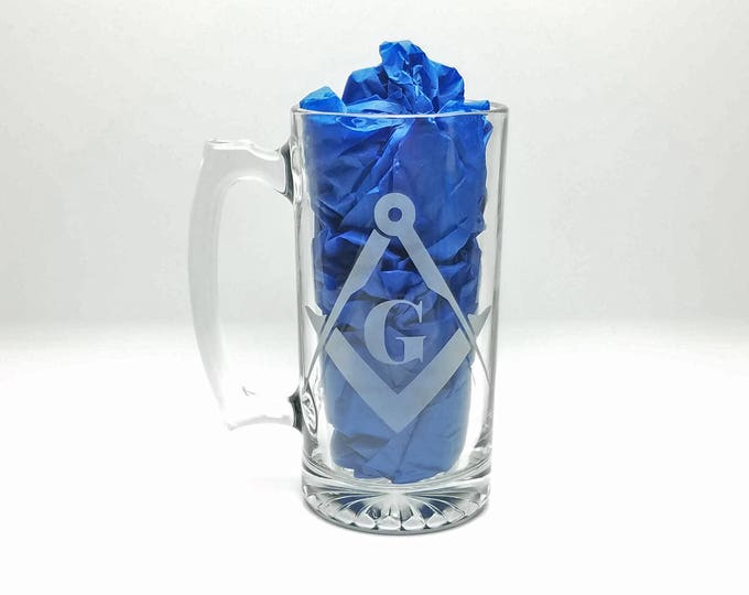 Etched Masonic Beer Mug - Large Glass Mug with Square and Compasses - Great for Degree Gifts, Birthdays, and more - Single glass