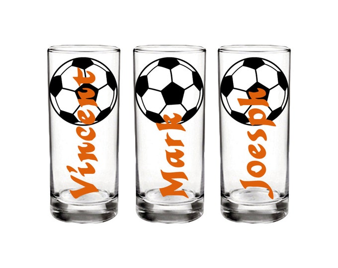 Set of 5 Personalized sports shot glass with name, soccer themed.  Great for birthdays, parties, and sports gatherings - FREE SHIPPING