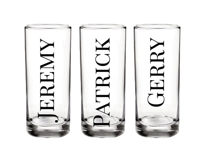 Set of 6 Personalized shot glass with name only - great for birthdays, wedding parties, bachelor parties, and more - FREE SHIPPING